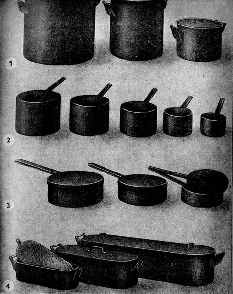 1 - наплитные варочные  котлы ёмкостью от 25-75 л, 2 - наплитные кастрюли ёмкостью от 1-8 л, 3 - сотейники, 4 - коробины.