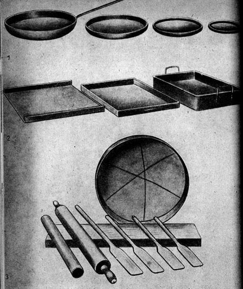 1 - сковороды, 2 - противник, кондитерский лист, 3 - настольная разделочная доска,  скалки, веселки и грохот (решето).