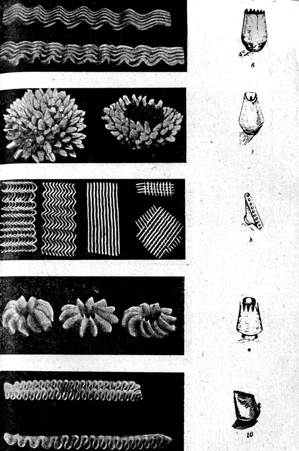 Украшения из крема, сделанные различными трубочками