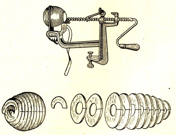 Машинка для обработки яблок.